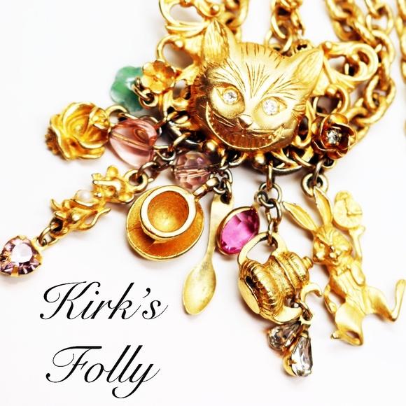cheshire cat white rabbit Kirks Folly Alice in Wonderland GARDEN TEA PARTY CHARM NECKLACE goldtone